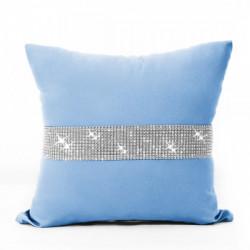 Obliečka na vankúš so zirkónmi 40x40 cm blankytne modrá Blankytna modrá