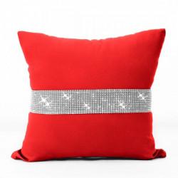Obliečka na vankúš so zirkónmi 40x40 cm červená Červená
