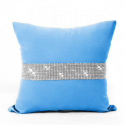 Obliečka na vankúš so zirkónmi 40x40 cm tyrkysovo modrá Tyrkysová