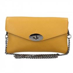 Okrová kožená kabelka na rameno MADE IN ITALY, Farba okrová MADE IN ITALY 5303
