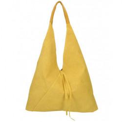 Okrová kožená kabelka na rameno v úprave semiš 184, Okrová