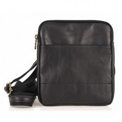 Pánska kožená taška na rameno  383 čierna, Čierna