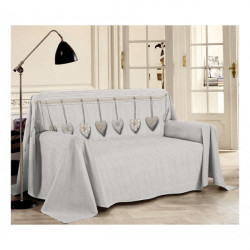 Prikrývka na gauč Visiace srdiečka béžová, Béžová, 250 x 290 cm