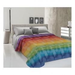 Prikrývka na posteľ Piquet Dúha viacfarebná Modrá 170 x 280 cm