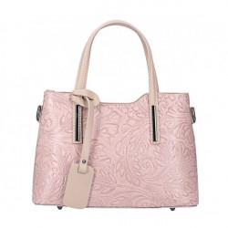 Ružová kožená kabelka 1493, Ružová