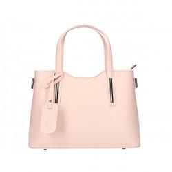 Ružová kožená kabelka do ruky 1364 Made in Italy, Ružová