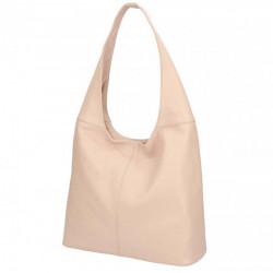 Ružová kožená kabelka na rameno 590, Ružová