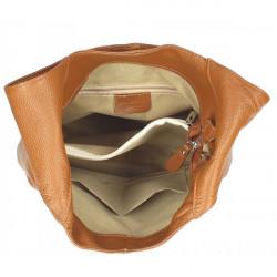 Ružová kožená kabelka na rameno 590, Ružová #1