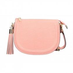 Ružová kožená kabelka na rameno Elis MADE IN ITALY, Farba ružová MADE IN ITALY 5300