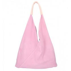 Ružová kožená kabelka na rameno v úprave semiš 184, Ružová