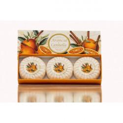 SA Fiorentino Prírodné rastlinné tuhé mydlo Pomaranč a škorica 3 x 100 g