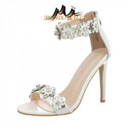 Sandále zdobené kvetmi 1113 strieborné SERGIO TODZI
