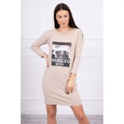 Šaty s potlačou Handle With béžové Univerzálna Béžová