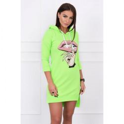 Šaty s predĺženou zadnou stranou a farebnou potlačou v predu MI64632 neónovo zelené, Uni, Zelená/neón