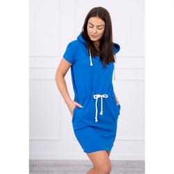Šaty s vreckami a kapucňou MI8982 azurovo modré Univerzálna Modrá