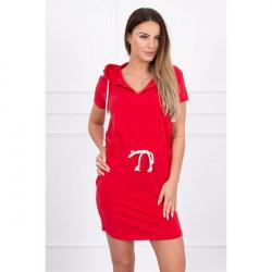 Šaty s vreckami a kapucňou MI8982 červené, Uni, Červená