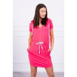 Šaty s vreckami a kapucňou MI8982 neónovo ružové Univerzálna Ružová/neón