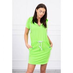 Šaty s vreckami a kapucňou MI8982 neónovo zelené Univerzálna Zelená/neón