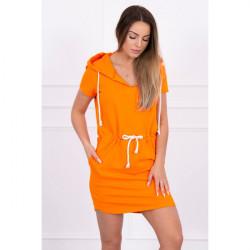 Šaty s vreckami a kapucňou MI8982 oranžové, Uni, Oranžová