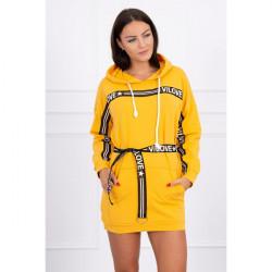 Šaty zdobené opaskom MI0140 okrové, Uni, Okrová