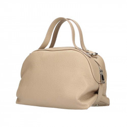 Šedohnedá kožená kabelka 5301 MADE IN ITALY, Farba šedohnedá MADE IN ITALY 5301