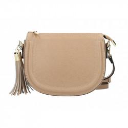 Šedohnedá kožená kabelka na rameno Elis MADE IN ITALY, Farba šedohnedá MADE IN ITALY 5300