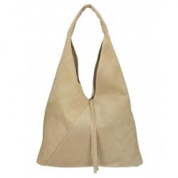 Šedohnedá kožená kabelka na rameno v úprave semiš 184, Šedohnedá
