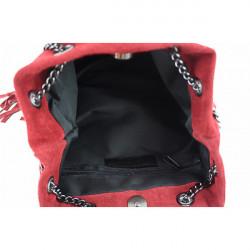 Semišová strapcová kožená kabelka 429 červená, Červená #1