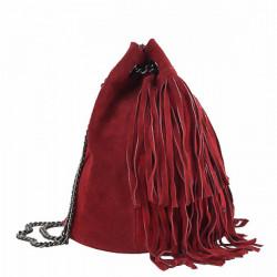 Semišová strapcová kožená kabelka 429 červená, Červená #2
