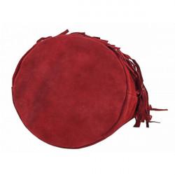 Semišová strapcová kožená kabelka 429 červená, Červená #3