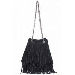 Semišová strapcová kožená kabelka 429 čierna, Čierna