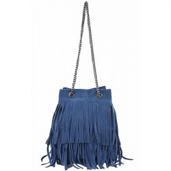 Semišová strapcová kožená kabelka 429 jeans, Modrá