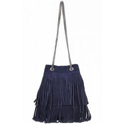 Semišová strapcová kožená kabelka 429 modrá, Modrá