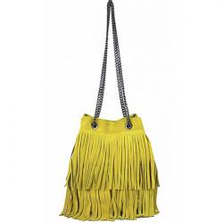 Semišová strapcová kožená kabelka 429 žltá, Žltá