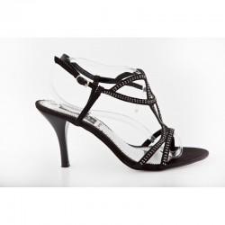 SPOLOČENSKÉ SANDÁLE čierne s kamienkami Nedline Shoes 323