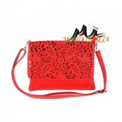 Štýlová talianska kožená kabelka na rameno 546 červená MADE IN ITALY