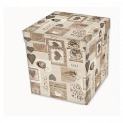 Taburetka s úložným priestorom MIG524 With Love, 38 cm x 38 cm x 38 cm, Béžová