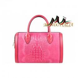 Talianska dámska kožená kabelka kroko štýl 660 fuxia MADE IN ITALY