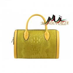 Talianska dámska kožená kabelka kroko štýl 660 okrová