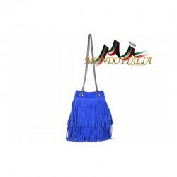 Talianska kabelka z brúsenej kože 429 azurovo modrá MADE IN ITALY 429