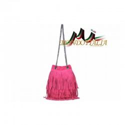 Talianska kabelka z brúsenej kože 429 fuxia MADE IN ITALY 429