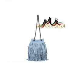 Talianska kabelka z brúsenej kože 429 nebesky modrá MADE IN ITALY 429