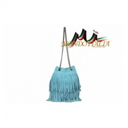 Talianska kabelka z brúsenej kože 429 zelenomodrá MADE IN ITALY 429