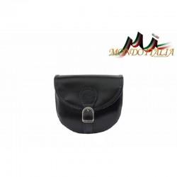 Talianska kožená crossbody kabelka 116B čierna MADE IN ITALY 116B