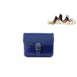Talianska kožená crossbody kabelka 398 azurovo modrá MADE IN ITALY 398