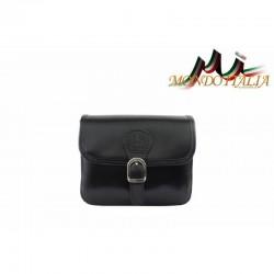 Talianska kožená crossbody kabelka 398 čierna MADE IN ITALY 398