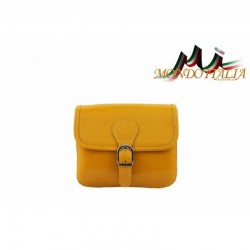 Talianska kožená crossbody kabelka 398 žltá MADE IN ITALY 398