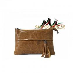 Talianska kožená kabelka 1423A koňak MADE IN ITALY 1423A
