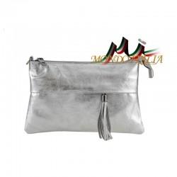 Talianska kožená kabelka 1423A strieborná, Farba strieborná