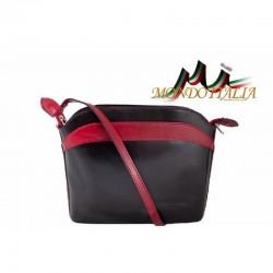 Talianska kožená kabelka 33 čierna+červená MADE IN ITALY 33
